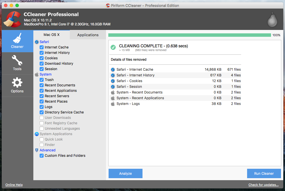 CCleaner Professional 1.15.507 for Mac Offline Installer Download